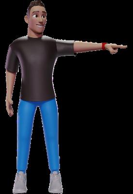 Logo Designer pointing